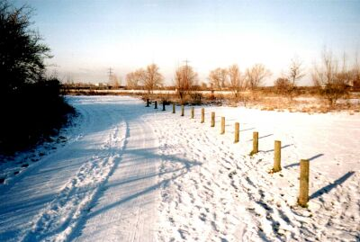 London, Walthamstow Marshes, Lea Valley, in snow