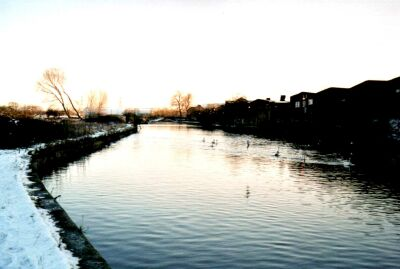 River Lea, Walthamstow Marshes in snow, London
