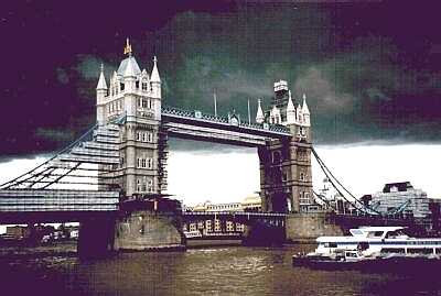 Tower Bridge, London, stormy sky