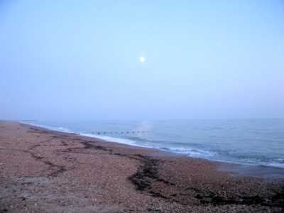 Beach and moon, Shoreham-by-Sea