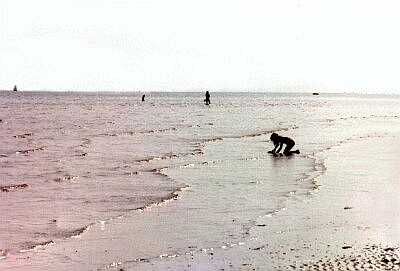 Girl playing, Worthing beach, Sussex